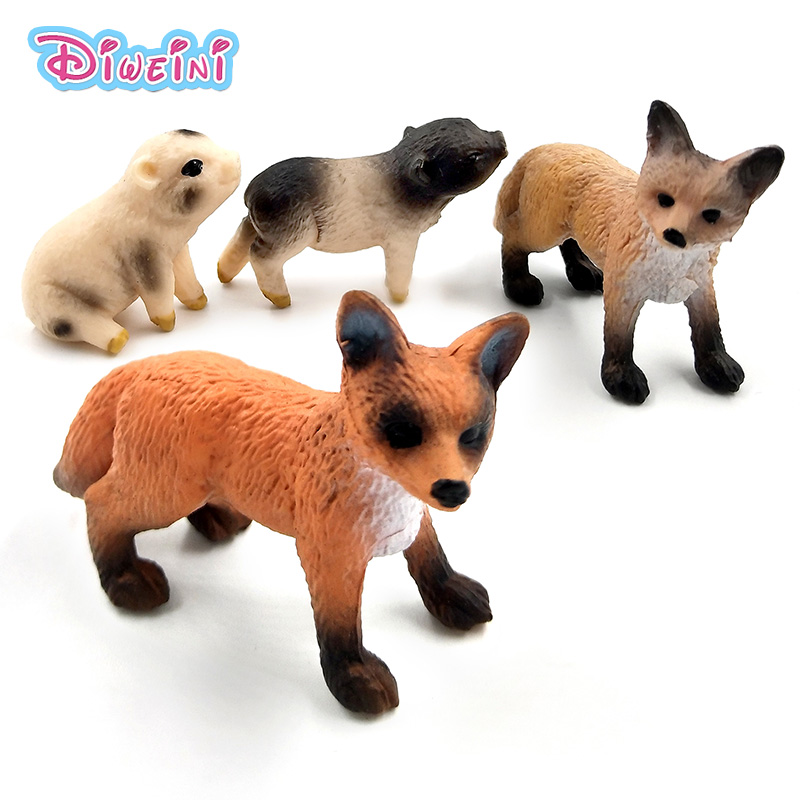Mini Simulation Red Fox Porket Pig Animal Models Figurine Forest Wild Animals Plastic Decoration Educational Toys Gift For Kids