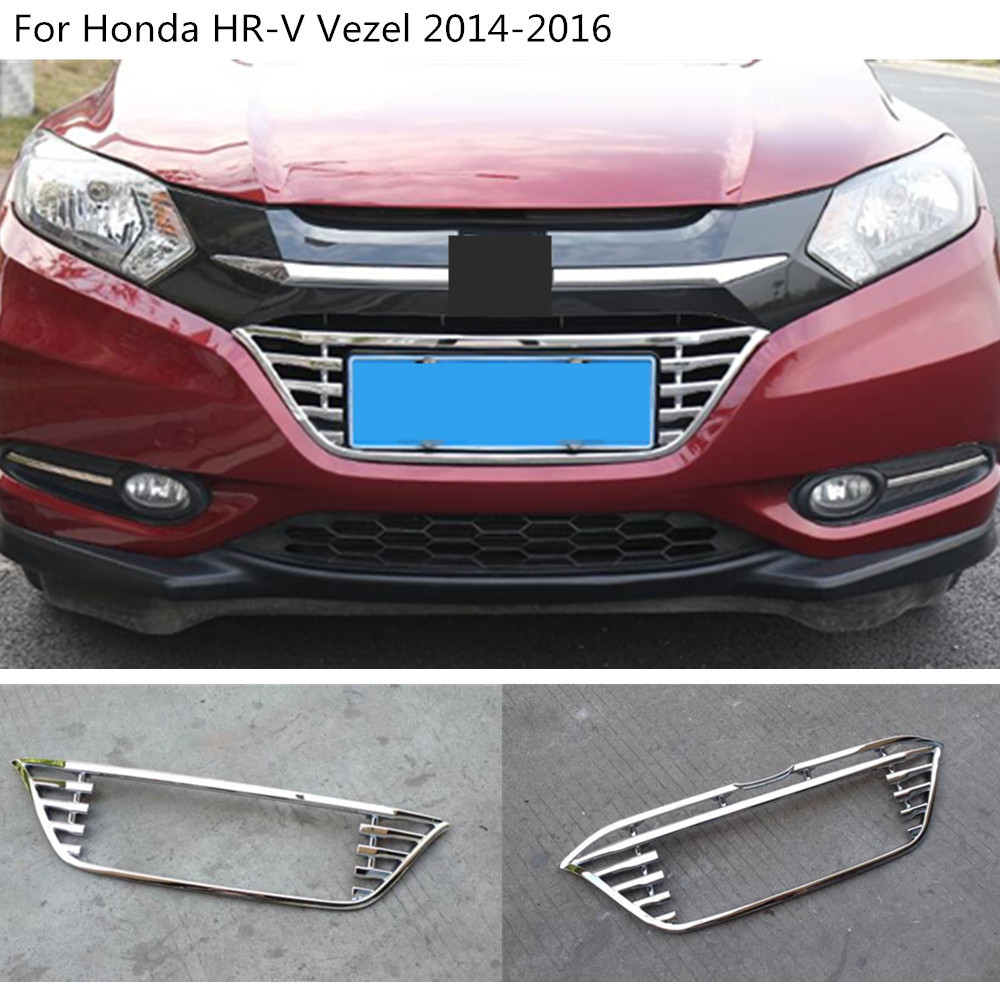 Car styling body cover detector ABS chrome trim Front racing Grid Grill Grille frame For Honda HRV HR-V Vezel 2014 2015 2016 car styling for ford ecosport 2013 2014 2015 2016 abs chrome bottom grille cover frame car racing grills trim auto accessories