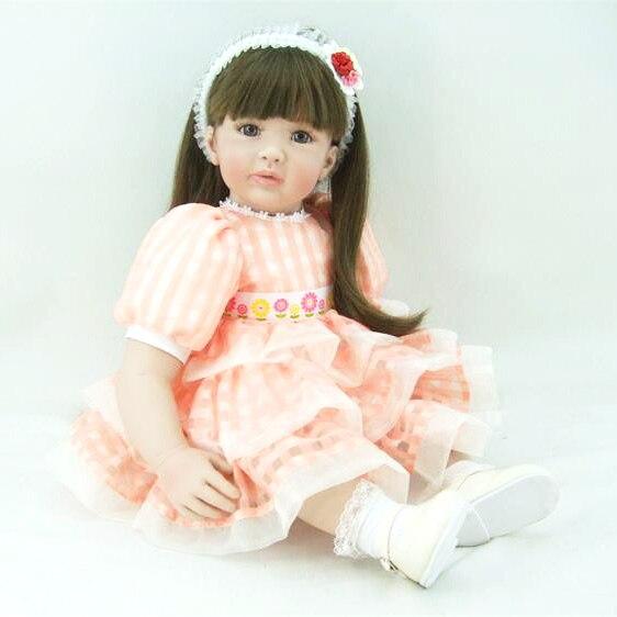 60cm Silicone Vinyl Reborn Baby Doll Toys Lifelike 24inch Lovely Princess Toddler Babies Dolls Kids Birthday Gifts Girl Bonecas