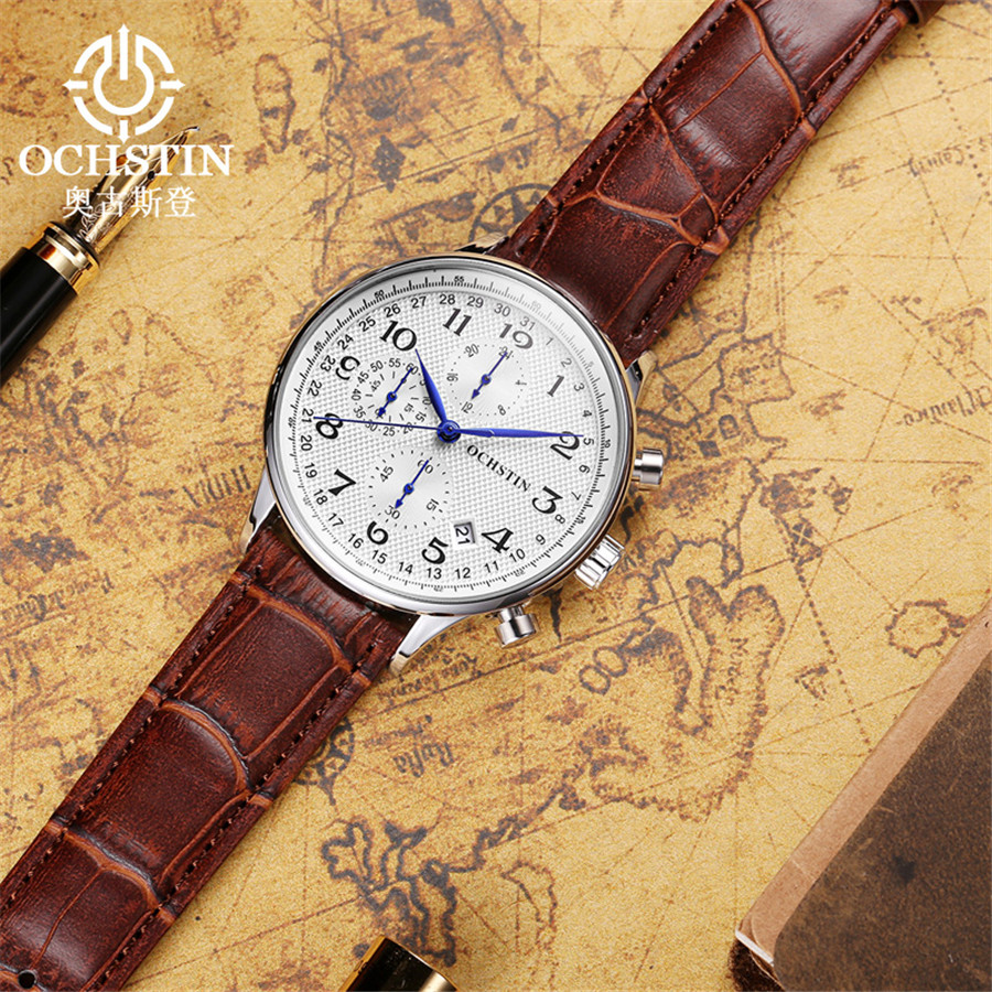 Image 3 - Rose gold case Fashion Blue pointer Chronograph Mens Watches Top Brand Luxury Quartz Watch Men Leather Waterproof Sport Watch-in Quartz Watches from Watches