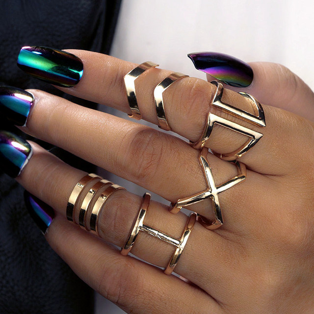 RAVIMOUR Steampunk Boho Knuckles Women Rings Gold Color Geometric Wave Cross Met