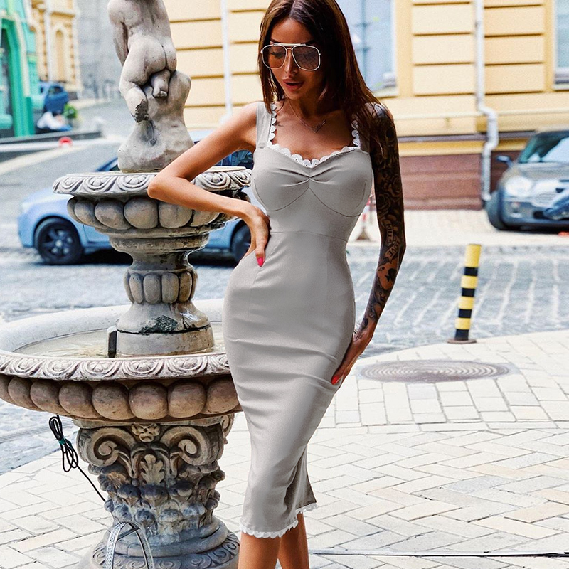 InstaHot Grey Lace Trim Midi Dress Fitted Slim Sleeveless Summer 2019 Mid Calf Pencil Dress Stretchy Casual Beach Dress in Dresses from Women 39 s Clothing