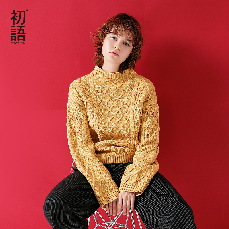 Toyouth Woman Knitted Sweater Pullovers Long Sleeve Turtleneck Solid Color Slim Elastic Autumn Winter Yellow Red Black Sweater autumn winter female long wool knitted dresses turtleneck slim lady accept waist package hip pullovers sweater dress for women