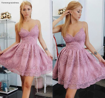 2019 Short Homecoming Dress Dusty Pink Spaghetti Straps Juniors Sweet 15 Graduation Cocktail Party Dress Plus Size Custom Made