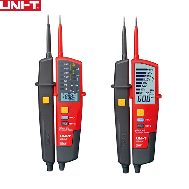 UNI T UT18C UT18D Auto Range Voltage Meter Continuity RCD Tester LCD LED Indication Date Hold