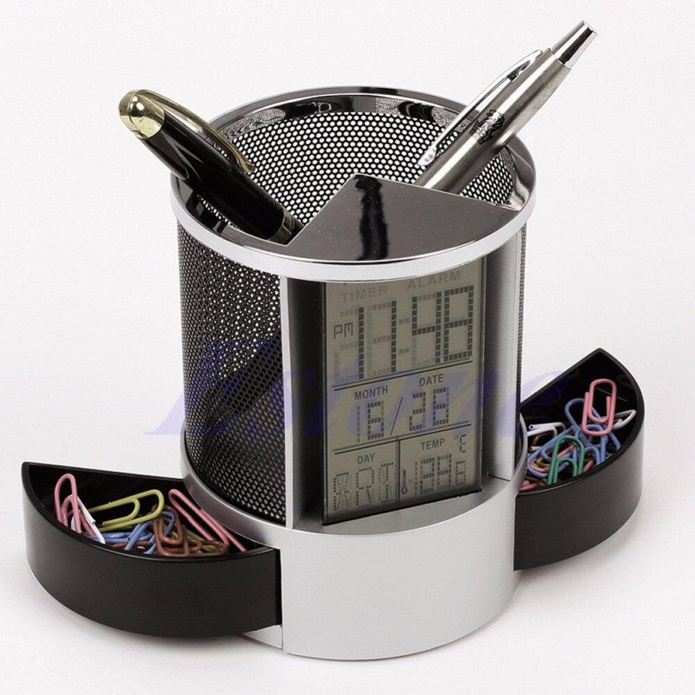 Mesh Pen Pencil Holder with Digital LCD Office Desk ALarm Clock with Time Temp Calendar function 2 PCS twist button batteries