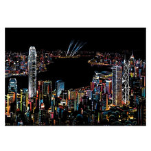 Famous City Night Scene DIY Creative Handmade Painting Drawing Paper Toys For Kids With Drawing Stick Big Photo Frame(China)