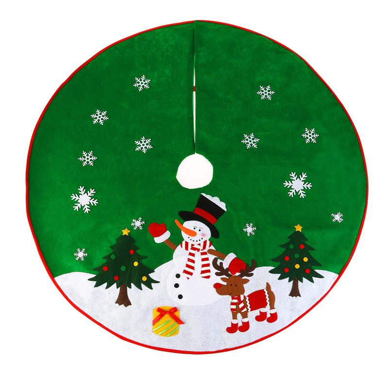 Non Woven Christmas Xmas Tree Skirt Circle Snowman Pattern Base Cover Decoration Apron Wrap Green