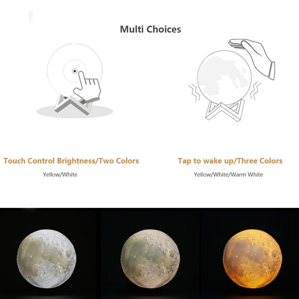 Moon Lamp,  16 Colors LED 3D Print Moon Light with Stand & Remote&Touch Control and USB Rechargeable, Moon Light Lamps for Kids Lover Birthday Gifts 1