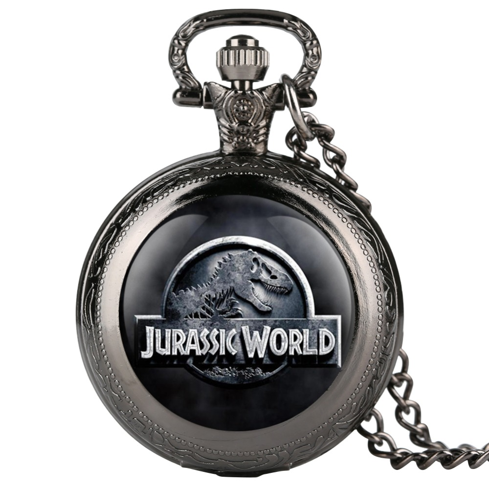 Jurassic Park Pattern Quartz Pocket Watch Men Vintage Fob Women Watches With Necklace Pendant Clock Gifts For Children Boys