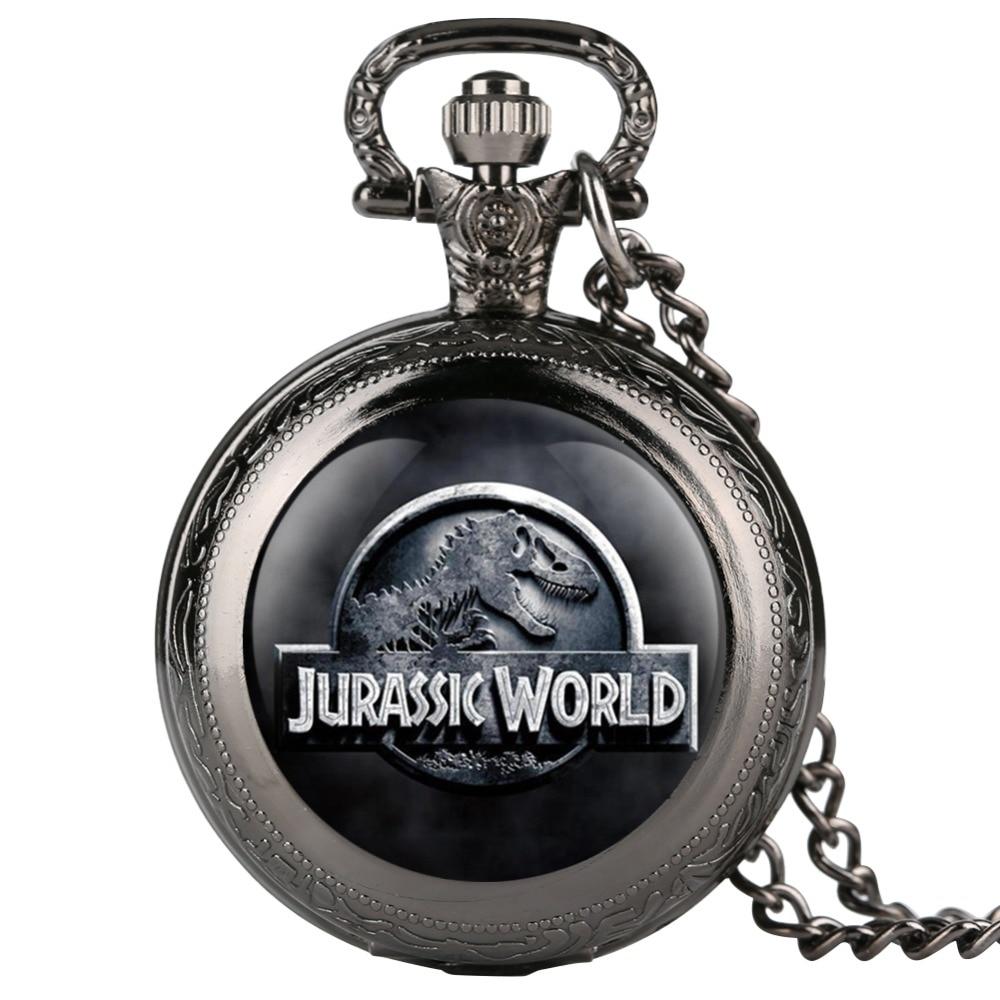 Jurassic Park Pattern Quartz Pocket Watch Men Vintage Fob Women Watches With Necklace Pendant Clock Gifts For Children Boys