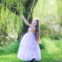 Liac purple tulle ball gown flower girl dresses with open back kid frocks for prom party evening birthday with lace flowers