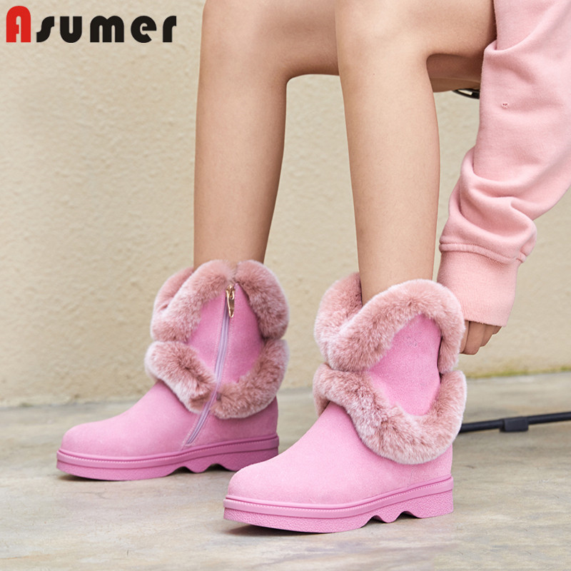 ASUMER 2018 new winter snow boots women round toe zip ankle boots for women fur keep warm plush suede leather boots ladies shoes стоимость