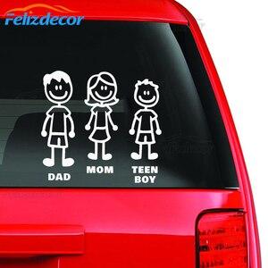Image 5 - DIY self adhesive Figur Familie Decals Gestanzte Vinyl Aufkleber Fam Autoscooter Fenster Slaps Familie Spaß Hund Katze baby Kinder L826