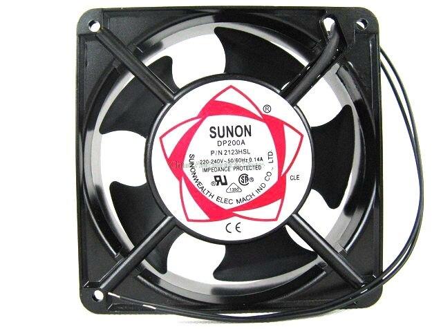 SUNON cobre 12038 HBL AC 220 ventilador de flujo Axial 120mm 120*120*38mm ventilador de refrigeración Industrial 2 cables doble Cojinete de bolas