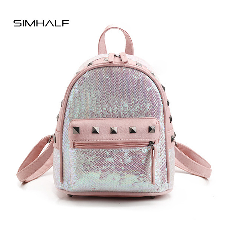 SIMHALF Fashion Small Leather Backpack Sequins Rivet Women Bag Preppy Style Backpack Girls School Bags Zip