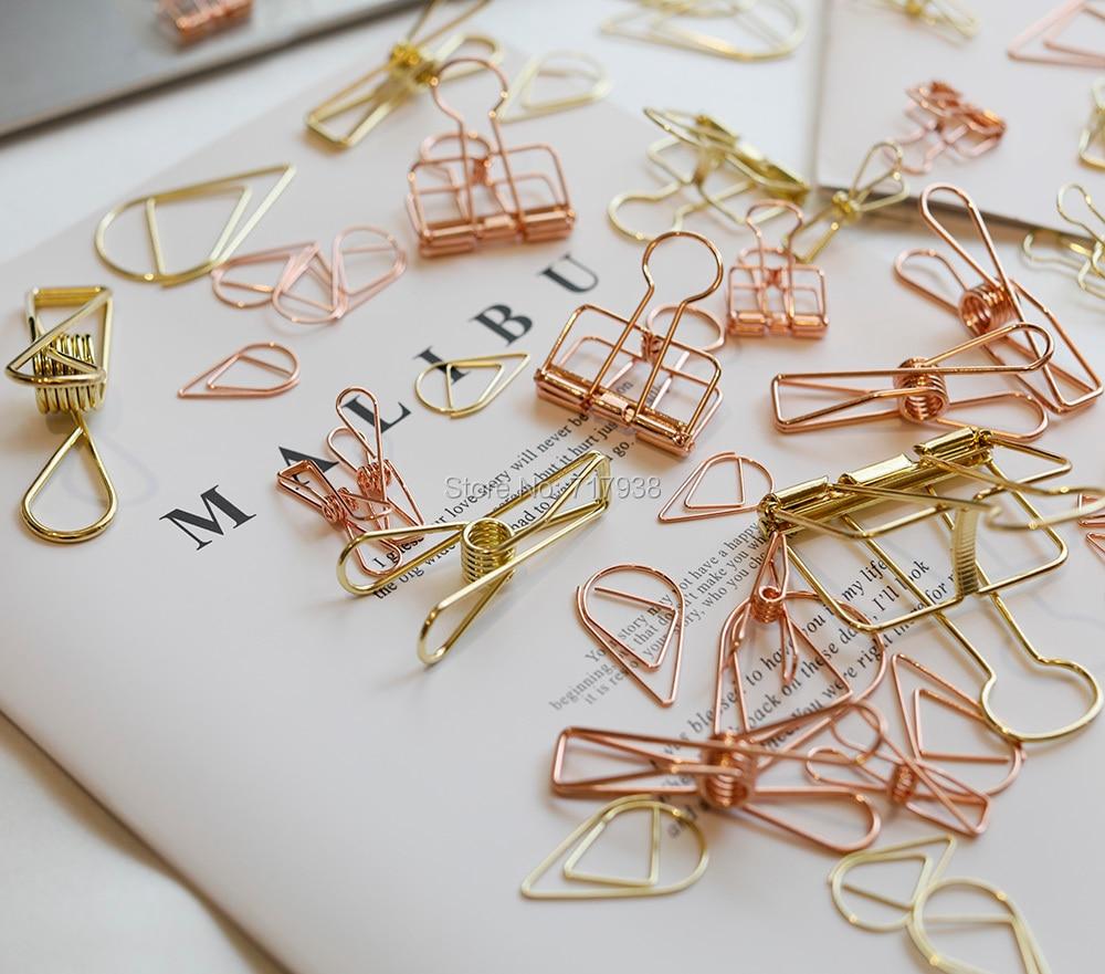 Желтое золото/розовое золото связующее металлические зажимы, скелетные зажимы, скрепки для бумаги зажимы для книг
