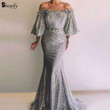 16f79222f5f8b Uzun Glitter arapça akşam elbise 2018 Sparkly Mermaid tekne boyun puf üç  çeyrek gümüş robe de soiree kadınlar akşam elbise