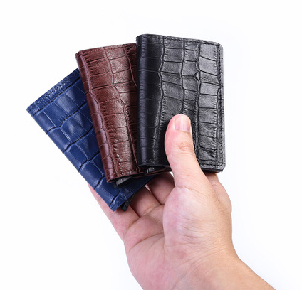 Casekey Men Genuine Leather Wallet with Rfid Blocking Crocodile Skin Purse Card Protection