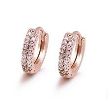 MxGxFam розовый маленький золотого цвета 2 линии CZ серьги-кольца для женщин модные милые ювелирные изделия дизайн хорошее качество