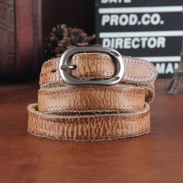 Las mujeres de cuero genuino femenino de la correa delgada del todo-fósforo decoración cinturón de los pantalones casuales de cuero de cuero genuino de la vendimia