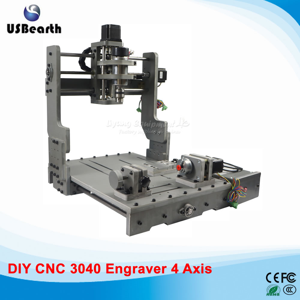 300W CNC 3040 300 DC power spindle motor CNC engraving machine drilling router with rotary axis, free tax to Russia eur free tax cnc router 3040 5 axis wood engraving machine cnc lathe 3040 cnc drilling machine