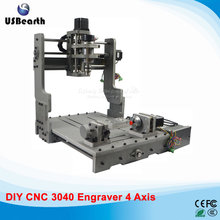 300W CNC 3040 300 DC power spindle motor CNC engraving machine drilling router with rotary axis, free tax to Russia