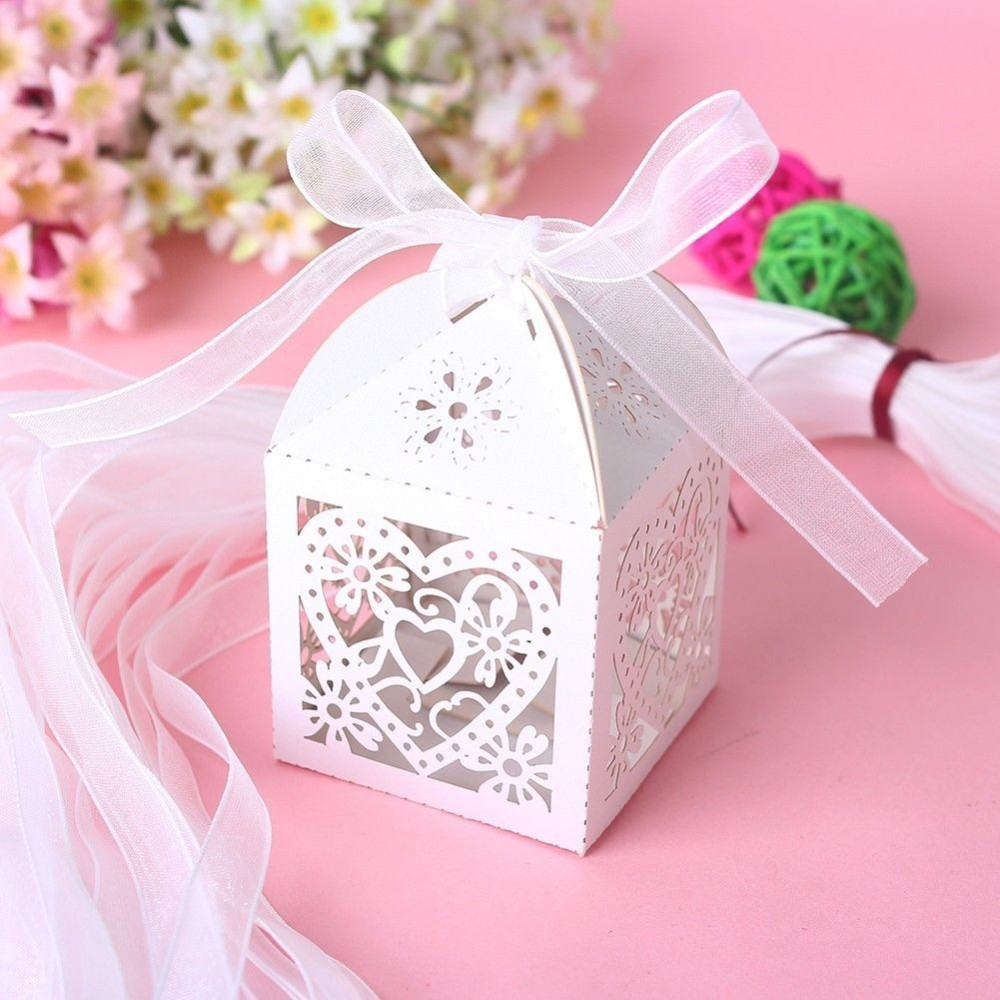 50pcs White Love Heart Laser Cut Candy Gift Boxes With Ribbon ...