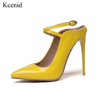 Kcenid 2019 Women elegant heeled pumps evening dress shoes ladies summer party shoes size 13 high heels pointed toe pumps yellow