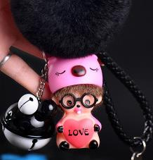 Cartoon pink blue pig love heart Bell Decoration Monchichi KIKI fur pompom Key holder Keychain keyring Women Bag Jewelry pendant
