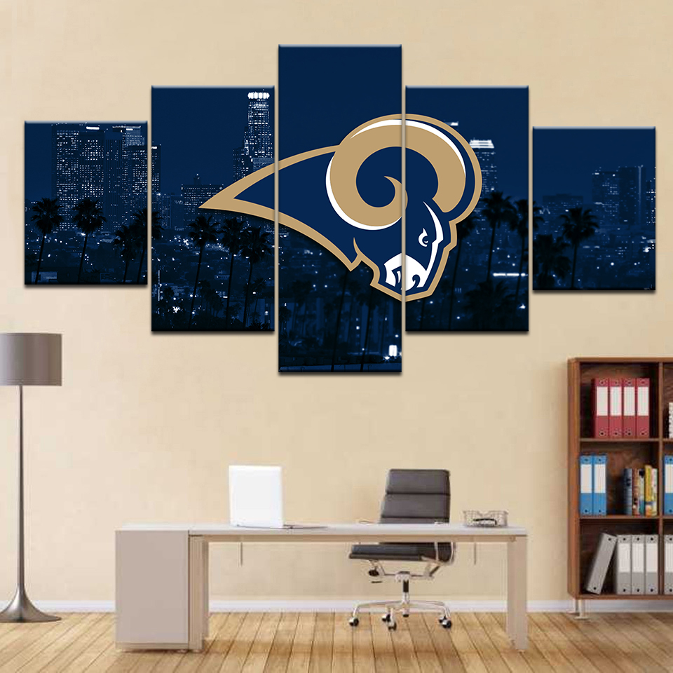 Home Decor Modern HD Printed Posters 5 Panel London Lights City Building Sheep Logo Wall Art Pictures Canvas Modular Paintings