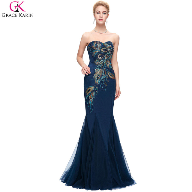 Pea Bridesmaid Dresses Grace Karin Royal Navy Blue Champagne Mermaid Prom Long Wedding