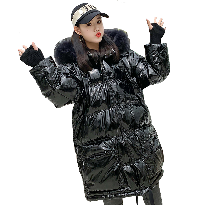 Fashion Bright   Down   Jacket Big Fur Collar Thicken Long Winter Warm Parka   Coat     Down   Jacket Female Snow Winter Clothes