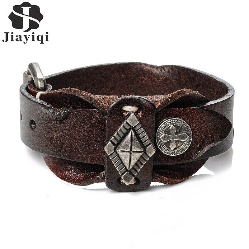 Jiayiqi 2017 Vintage Manschette Lederarmband für Männer Kreuz Muster Punk Armband Doppelschicht Einstellbare Armreifen Männlichen Schmuck