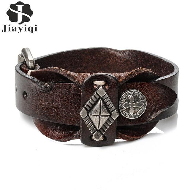 Jiayiqi 2017 Vintage Cuff Leather Bracelet For Men Cross Pattern Punk Wristband Double Layer Adjule Bangles
