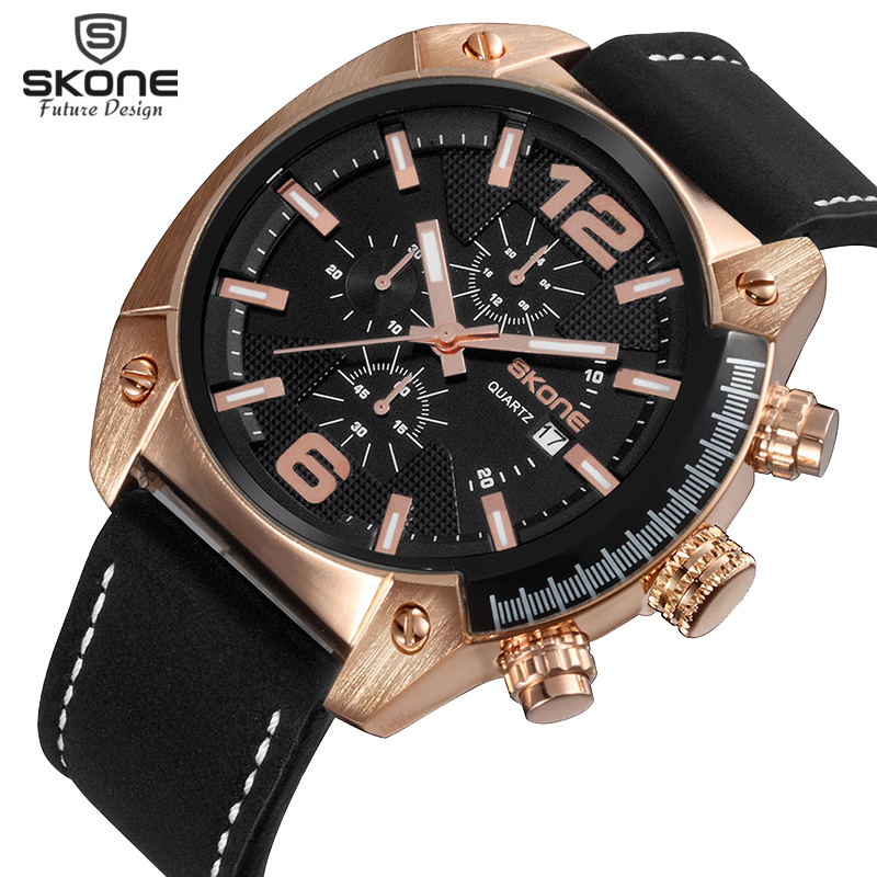 SKONE Men Fashion Casual Sports Watches Mens Quartz Date Clock Man Leather Strap Army Military Wrist Watch Relogio Masculino luxury watch men cagarny mens sports watches men s quartz wrist watch date clock man leather army military relogio masculino new