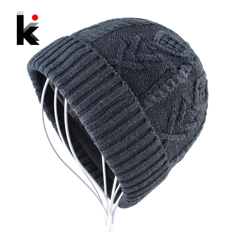 971ea404678 Men s Beanies Hats Winter Knitted Wool Hat Double layer Add Velvet knitting