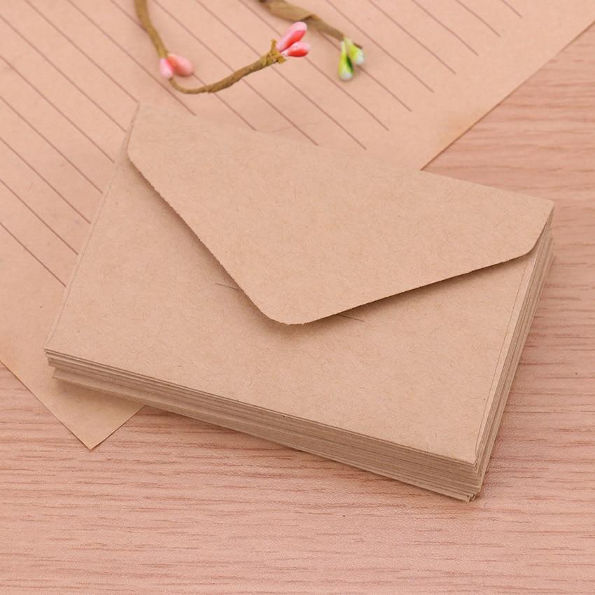 20 шт Классическая белая черная крафт-бумага пустая мини-бумага конверты для окна свадебные приглашения конверт Подарочный конверт - Цвет: Kraft