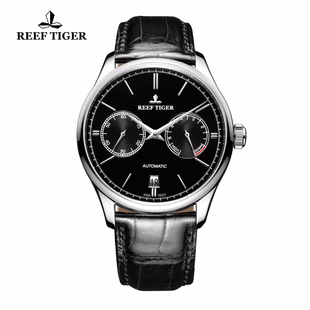 Reef Tiger/RT Mens Elegance Simple Business Watches Power Reserve Steel Watch Automatic Watches with Date RGA1620 акустика центрального канала mt power elegance center black