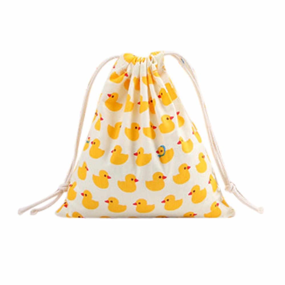 Bolsas de algodón con cordón, Unisex, con estampado de dibujos animados, de lino, bolsas con cordón para adolescentes, bolsillo de moda, Mochila de gran capacidad