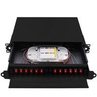 Rack Mount fiber termination box patch panel optical distribution frame ODF for FC 12 core pigtail Pull out terminal box