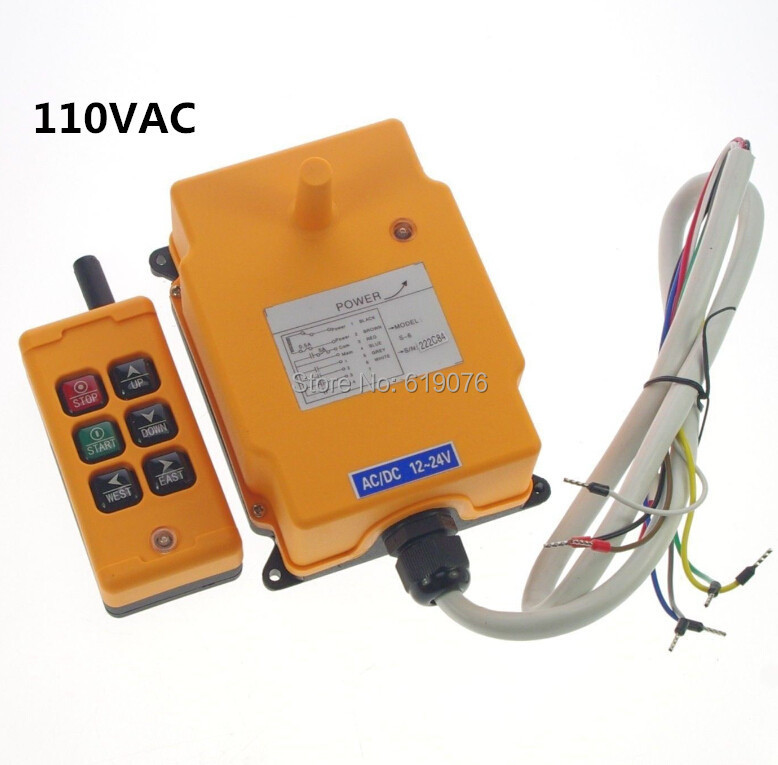 ФОТО HS-6 110VAC 6 Channels Hoist Crane Radio Remote Control System