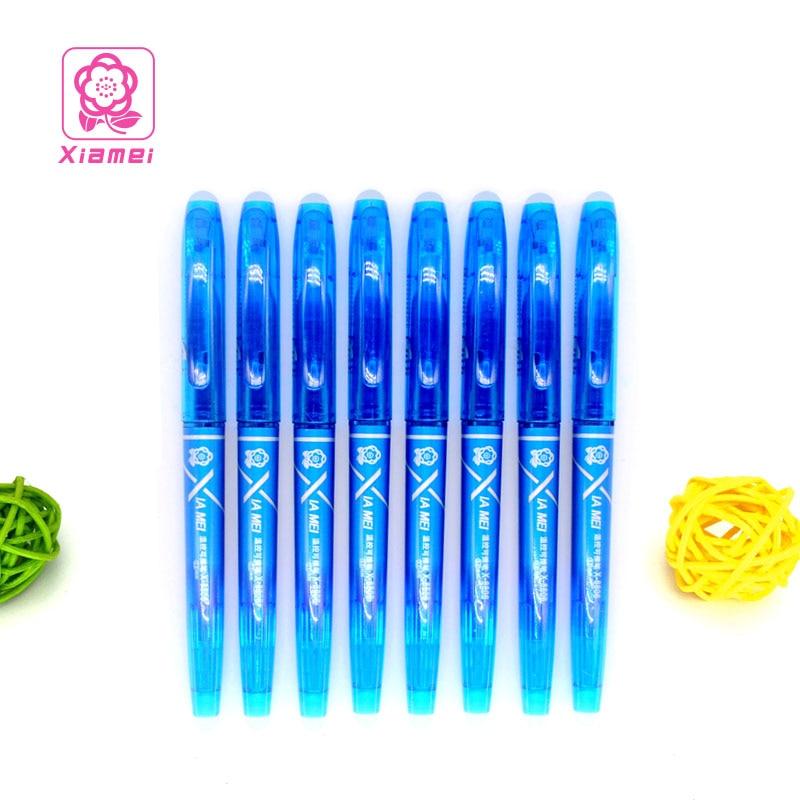 Xiamei 8pcs Friction Erasable Pen Creative Stationary 0.5mm Erasable Ink Pens Chancery Writing Black Gel Pen School Supplies friction