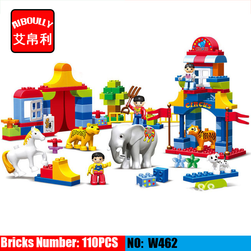 39/65/110pcs Large particles Circus Show Building Blocks Classic Educational Toys for Children DIY Bricks Compatible Duploe hm136 57pcs large particle building