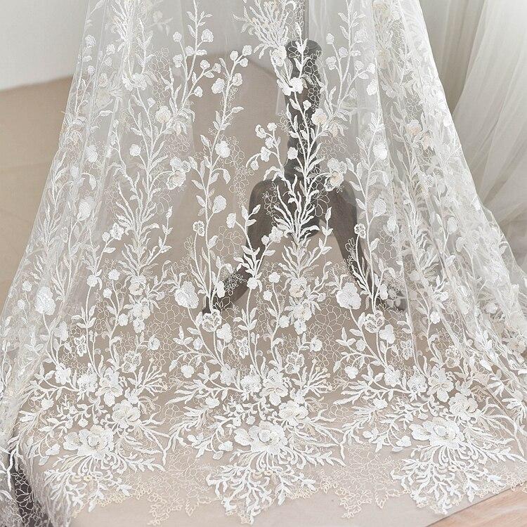 Flor de ameixa bordado tela do laço do vestido de casamento handmade diy material de tecido de roupas de alta-grade