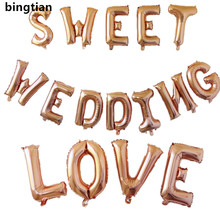 BINGTIAN 16 inch Rose gold A-Z letter a lot of aluminum balloon birthday festival wedding decoration toy balloon wholesale