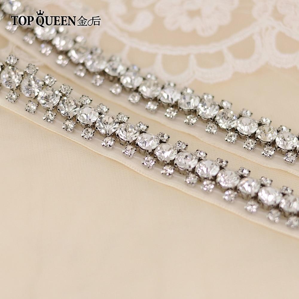 TOPQUEEN S42 Wedding Sash Rhinestones Sash Evening Party Prom Dresses Belt Accessories Wedding Belt Sashes Bride Belt