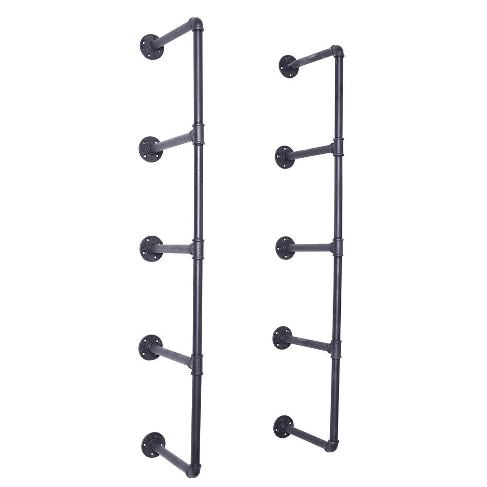 Industrial Pipe Shelf Kit Hanging Bookshelf For Wall Open Pipe Shelving Black Wall Shelves Pipe Shelf Bracket