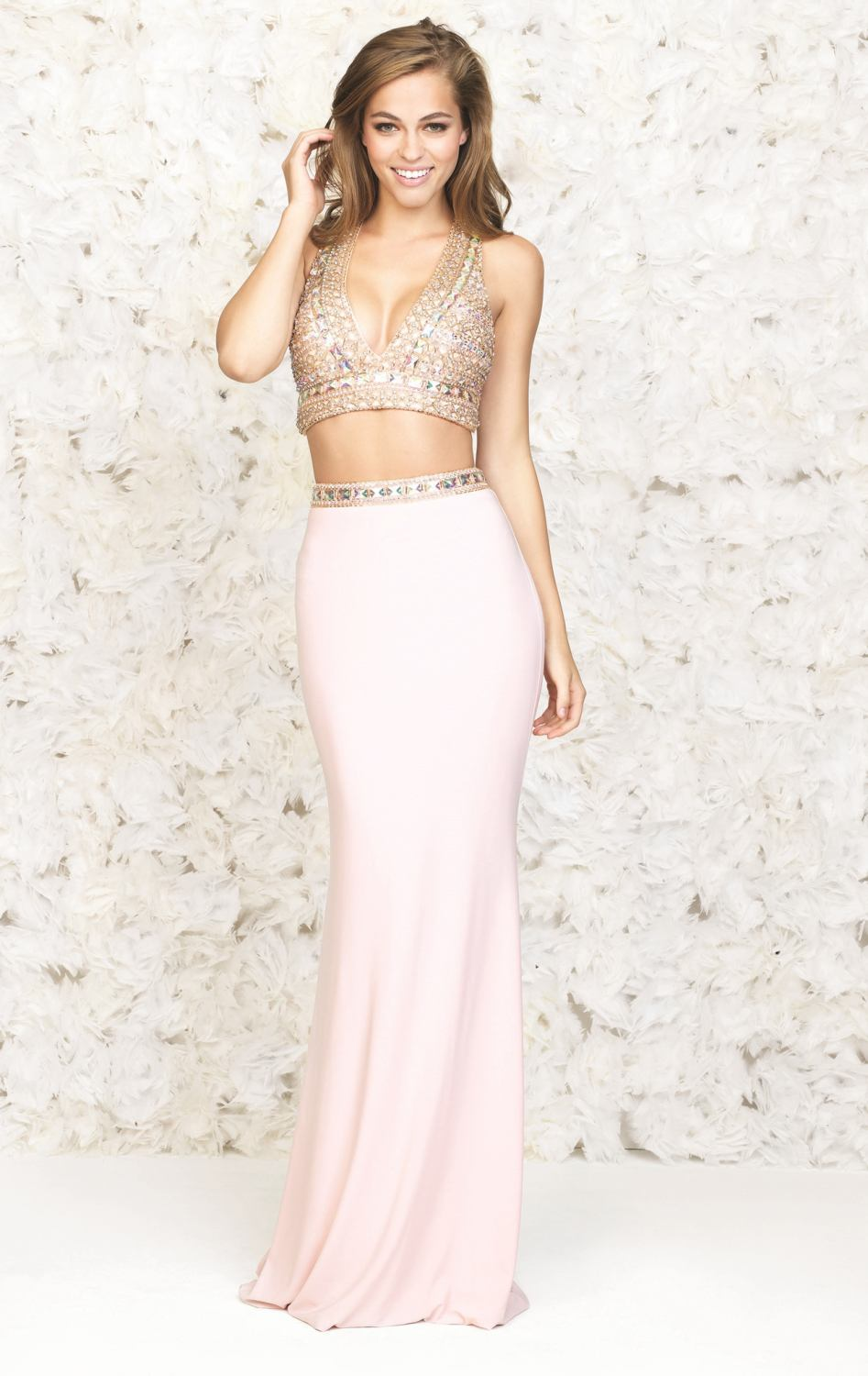 Sexy V Neck 2 Piece Party Kleider Formal Gown Robe De Soiree Crystal ...