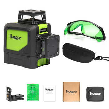 Huepar Self-leveling Professional Green Beam Cross Line Laser 360-Degree with Pulse Modes+Huepar Green Laser Enhancement Glasses